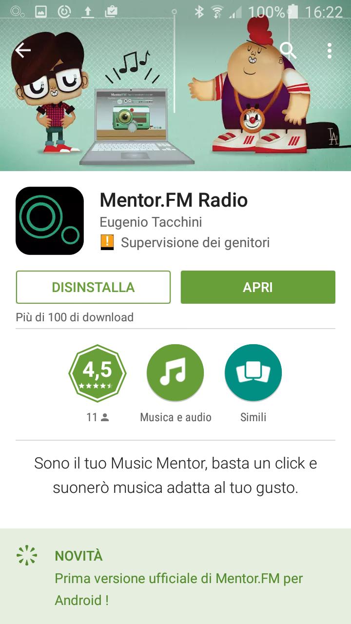 Mentor.FM, la tua app per ascoltare musica ora anche su Android